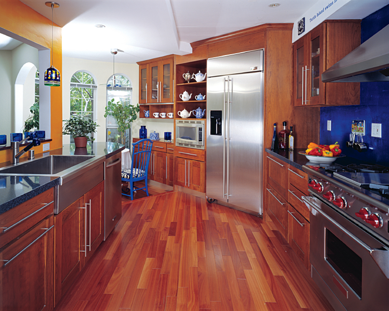 Above: Real cherry all wood kitchen cabinets in shaker style. Get a